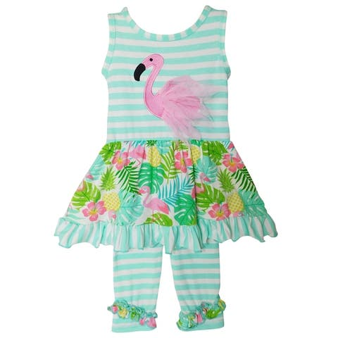 AnnLoren Big Little Toddler Girls' Pink Flamingo Palm Tree Dress & Capri Children's Cruise Wear Outfit