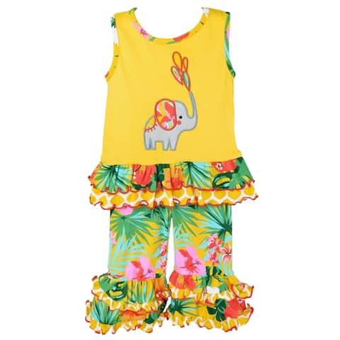 AnnLoren Big Little Girls Yellow Elephant Tunic & Tropical Hibiscus Capri Ruffle Pants Set Toddler Boutique Clothing