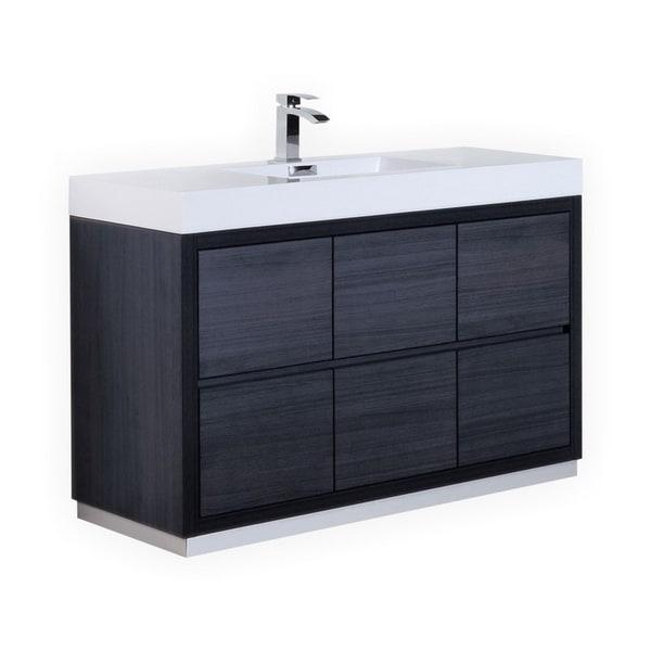 "Bliss 60"" Single Sink Gray Oak Free Standing Modern Bathroom Vanity"