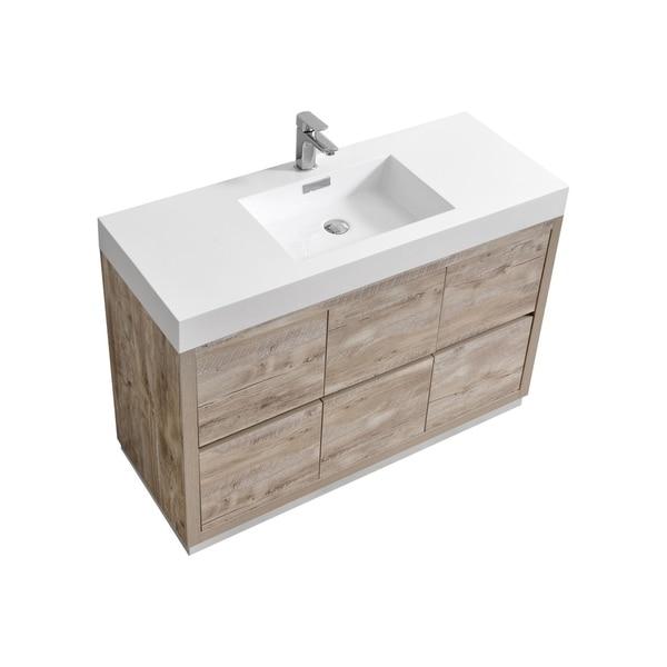 """Bliss 48"""" Nature Wood Floor Mount Modern Bathroom Vanity. Opens flyout."""
