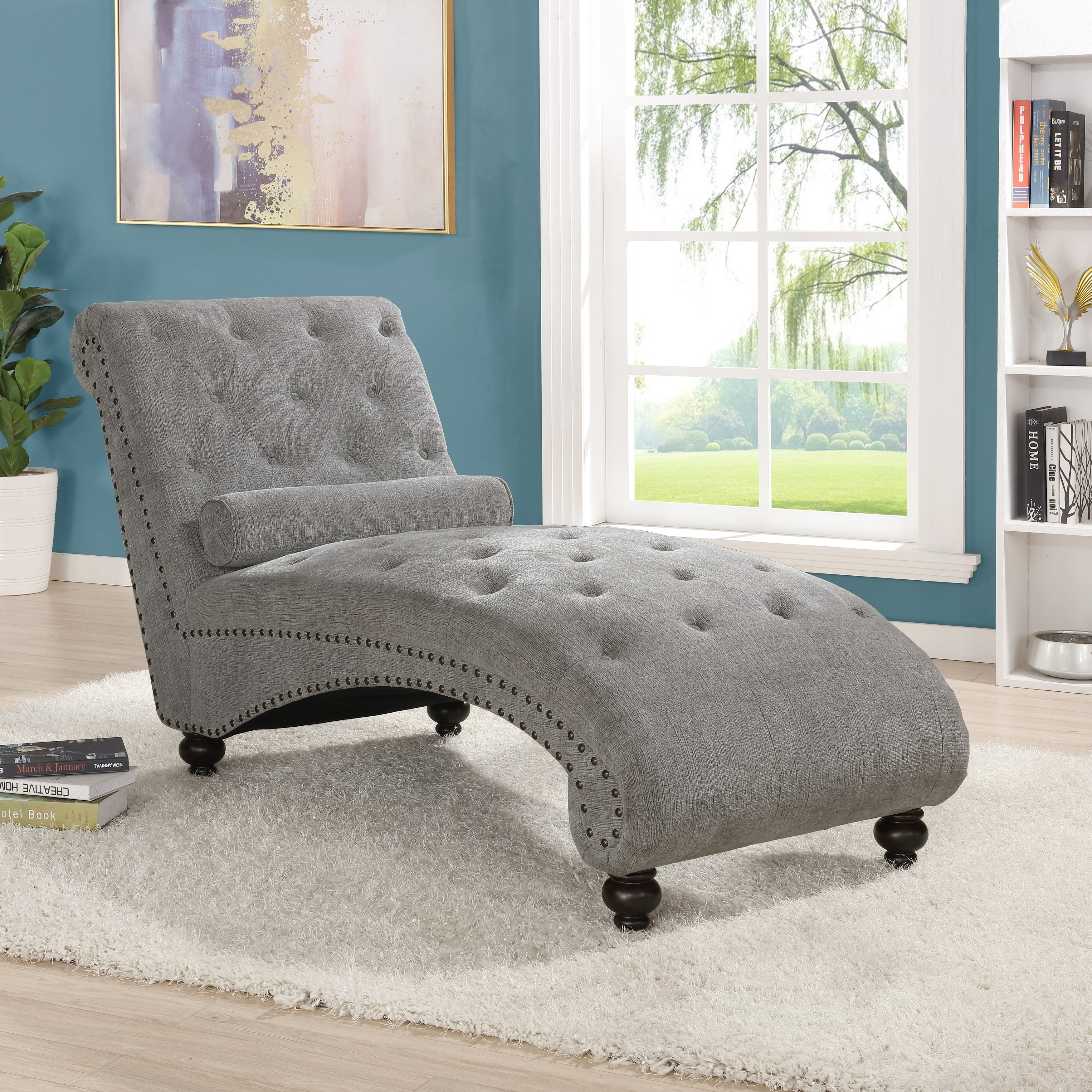 - Shop Hervey Tufted Chenille Chaise Lounge With Nailhead Trim, Gray