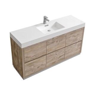 """Bliss 60"""" Single Sink Floor Mount Nature Wood Modern Bathroom Vanity"""