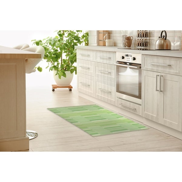 Bauhaus Kitchen Design: Shop BAUHAUS STRIPE GREEN Kitchen Mat By Becky Bailey