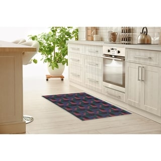 SHAPES BLUE Kitchen Mat By Becky Bailey
