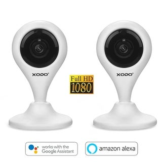 XODO E4 HD 1080p HD Security Camera with Built Two-Way Talk and a Siren Alarm, White, Works with Alexa - 2-Pack