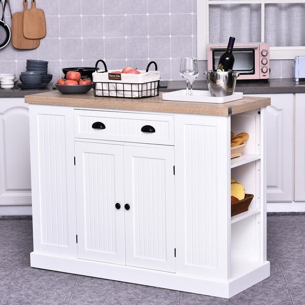 Homcom Fluted Style Wooden Kitchen Island Storage