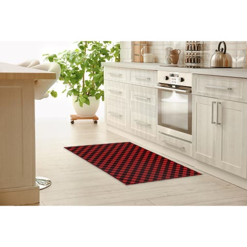 DIAGONAL BUFFALO PLAID RED Kitchen Mat By Marina Gutierrez
