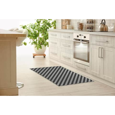 DIAGONAL BUFFALO PLAID BLACK & WHITE Kitchen Mat By Marina Gutierrez