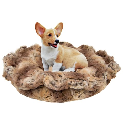"""Bessie and Barnie Ultra Plush Simba / Divine Caramel Deluxe Dog/ Pet Lily Pod Bed - 24"""""""