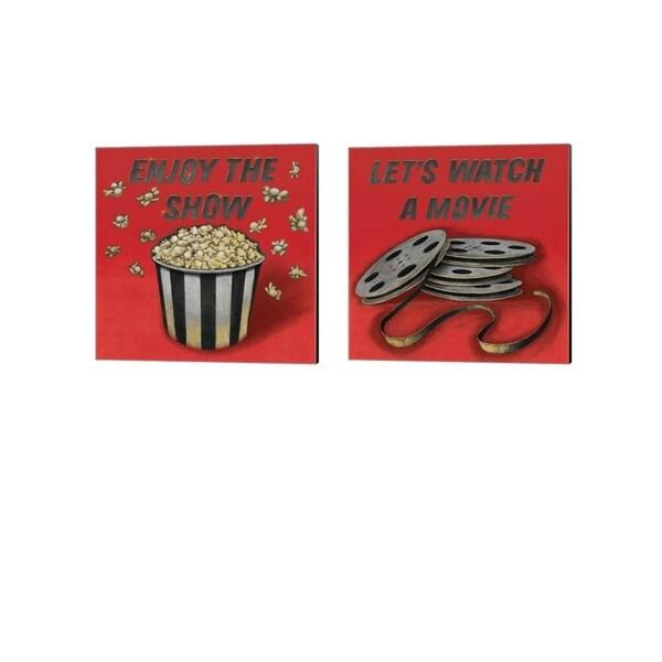 Wild Apple Portfolio 'Enjoy the Show & Lets Watch a Movie Red' Canvas Art (Set of 2)