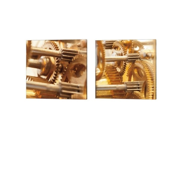 Laura Marshall 'Gilded Gears' Canvas Art (Set of 2)