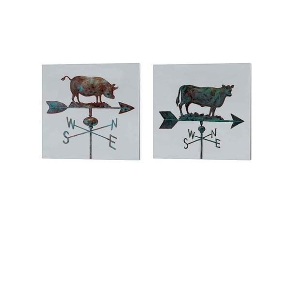 Arnie Fisk 'Rural Relic Pig & Cow' Canvas Art (Set of 2)