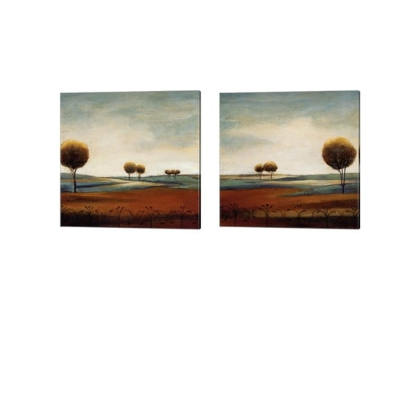 Ursula Salemink-Roos 'Tranquil Plains' Canvas Art (Set of 2)