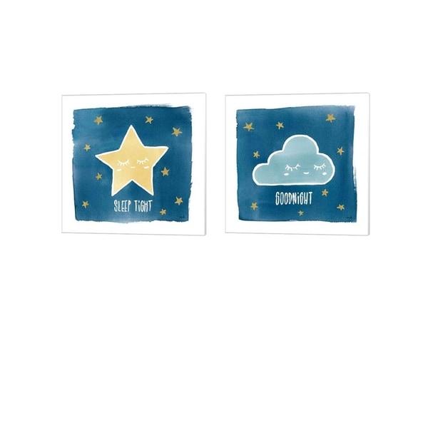 Moira Hershey 'Night Sky Sleep Tight & Goodnight' Canvas Art (Set of 2)