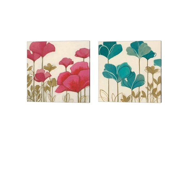 Nicola De Maria 'Ladybug Flowers' Canvas Art (Set of 2)