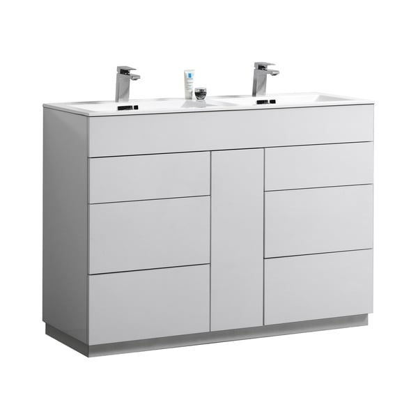 """Shop Milano 48"""" Double Sink High Gloss White Floor Mount"""