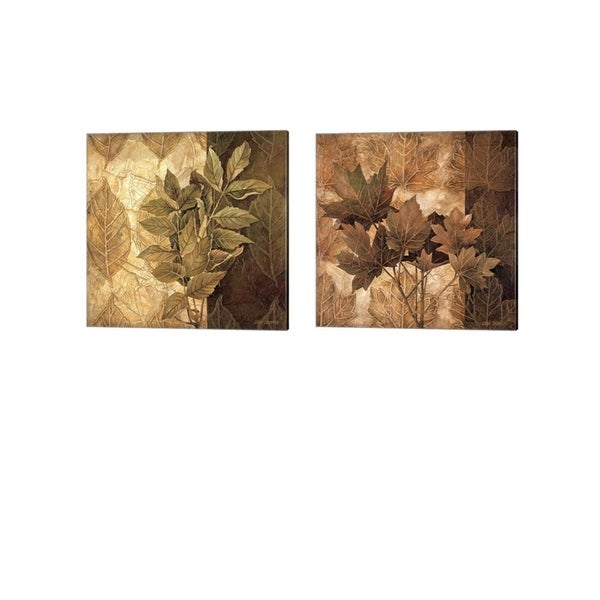 Linda Thompson 'Leaf Patterns' Canvas Art (Set of 2)
