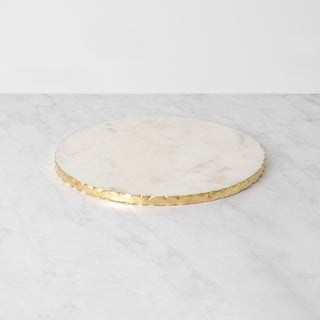 Aurora Home White Marble Plate with Gold Foil Edge