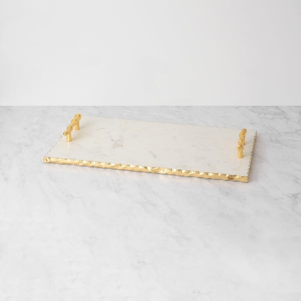 Shop Aurora Home White Marble Tray With Gold Foil Edge And