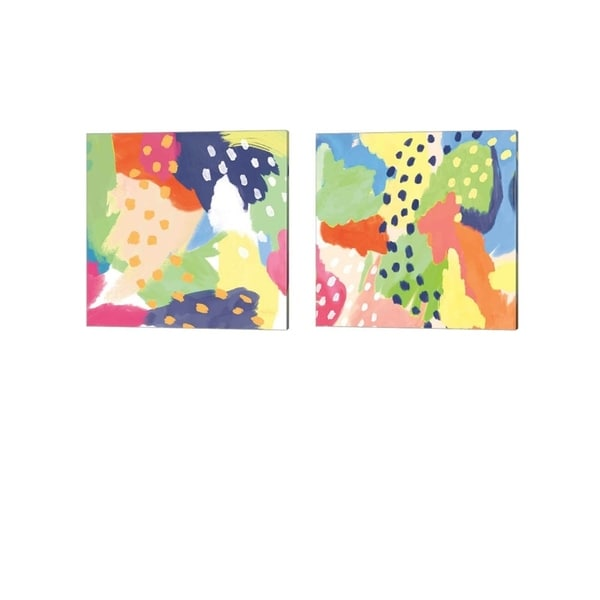 Mary Urban 'Bright Life Blue Green Crop' Canvas Art (Set of 2)