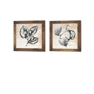 Front Porch Pickins 'Petals on Planks - Capers & Nutmeg' Canvas Art (Set of 2)