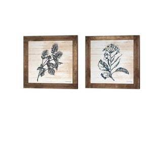 Front Porch Pickins 'Petals on Planks - Mint & Mustard' Canvas Art (Set of 2)