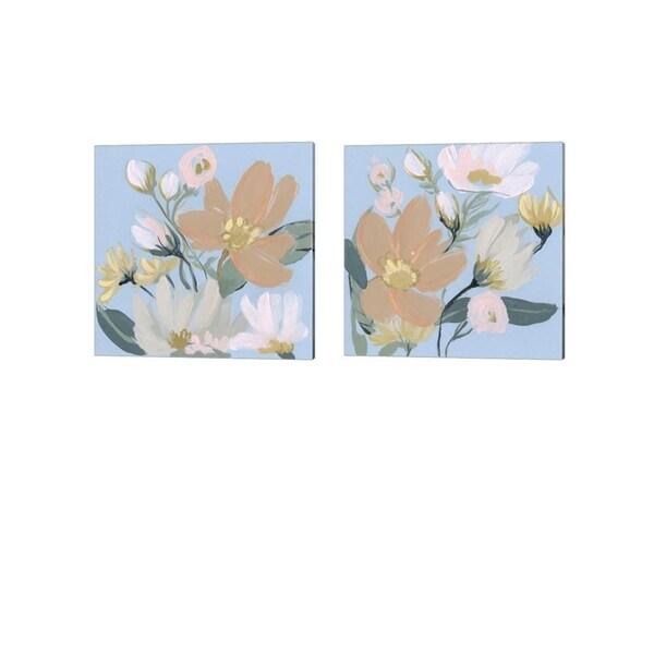 Jennifer Goldberger 'Bouquet on Blue' Canvas Art (Set of 2)