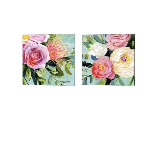 Victoria Borges 'Brushy Floral' Canvas Art (Set of 2)