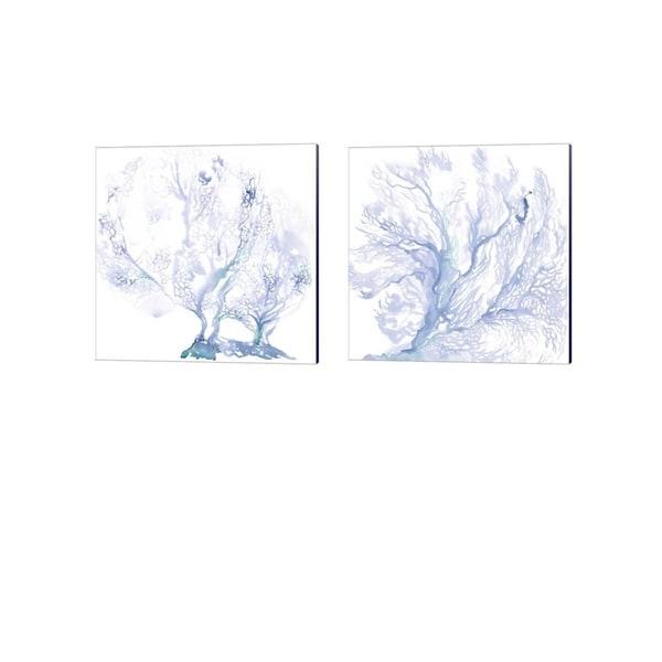 Jennifer Parker 'Navy Sea Fan' Canvas Art (Set of 2)