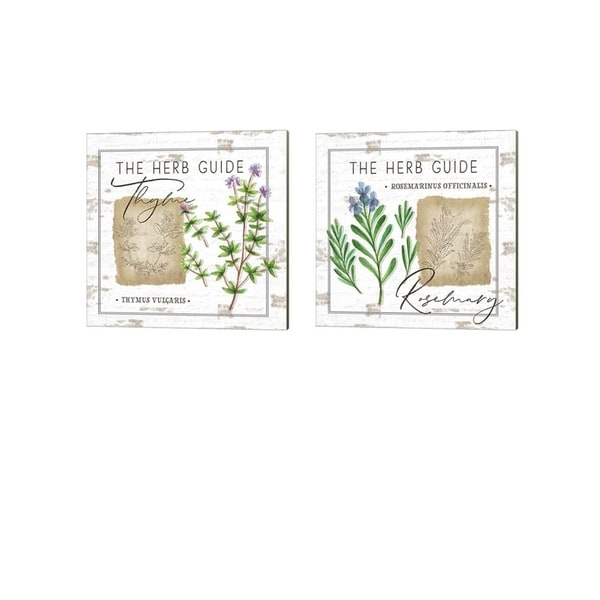 Jennifer Pugh 'Herb Guide - Thyme & Rosemary' Canvas Art (Set of 2)