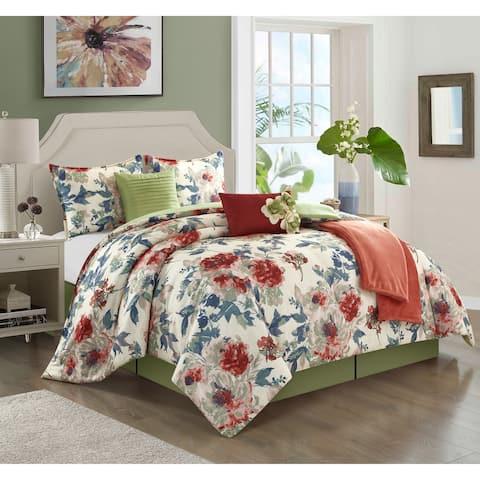 Porch & Den Summer Lake Floral Pattern 7-piece Comforter Set