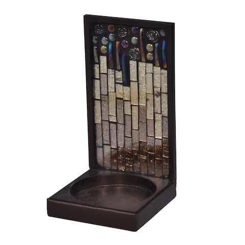 Springdale 6 H Peacock Lane Mosaic Art Glass Candle Holder