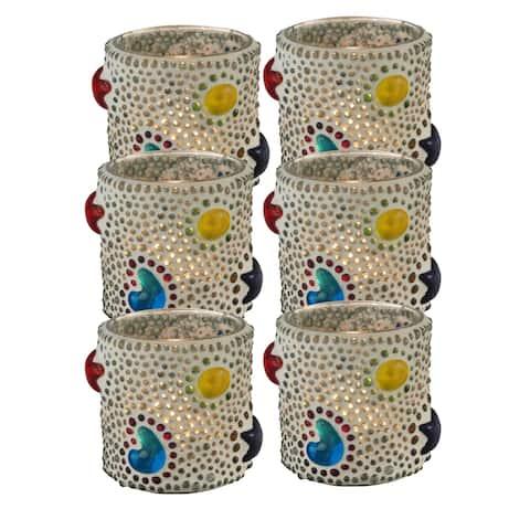 Springdale 3 H Bead Star 6-Piece Mosaic Art Glass Candle Votive