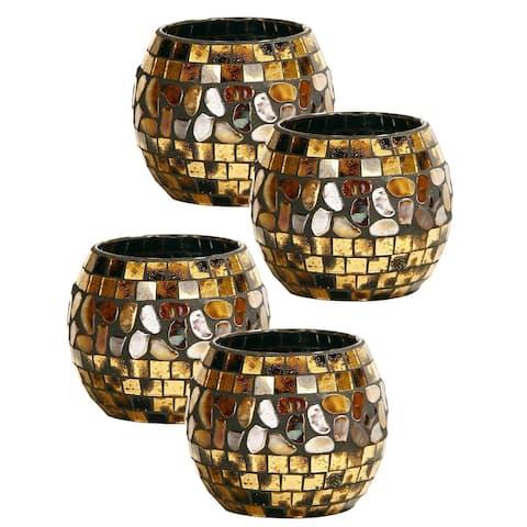 Springdale 4 H Cielo 4-Piece Mosaic Art Glass Candle Votive Set