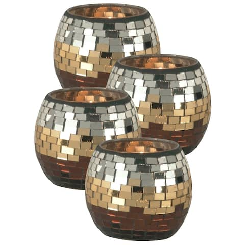Springdale 4 H Chalet 4-Piece Mosaic Art Glass Candle Holders