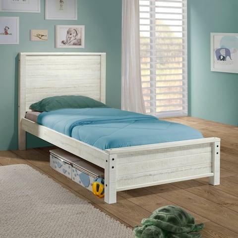 Taylor & Olive Cornelia Panel Wood Twin-size Bed, Rustic White