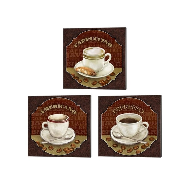 Abby White 'Coffee Illustration' Canvas Art (Set of 3)