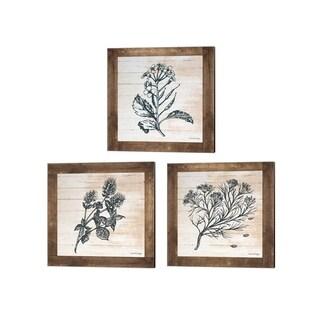 Front Porch Pickins 'Petals on Planks - Cumin, Mint & Mustard' Canvas Art (Set of 3)