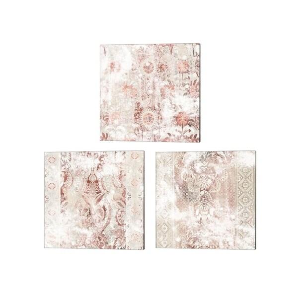 June Erica Vess 'World Traveler Textile' Canvas Art (Set of 3)