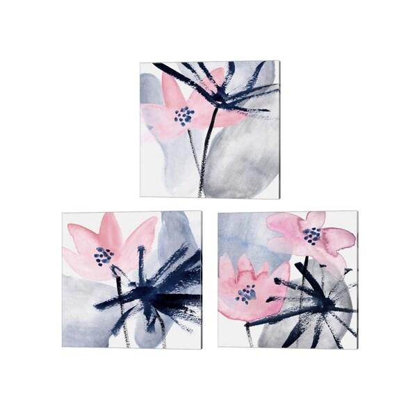 Melissa Wang 'Pink Water Lilies' Canvas Art (Set of 3)