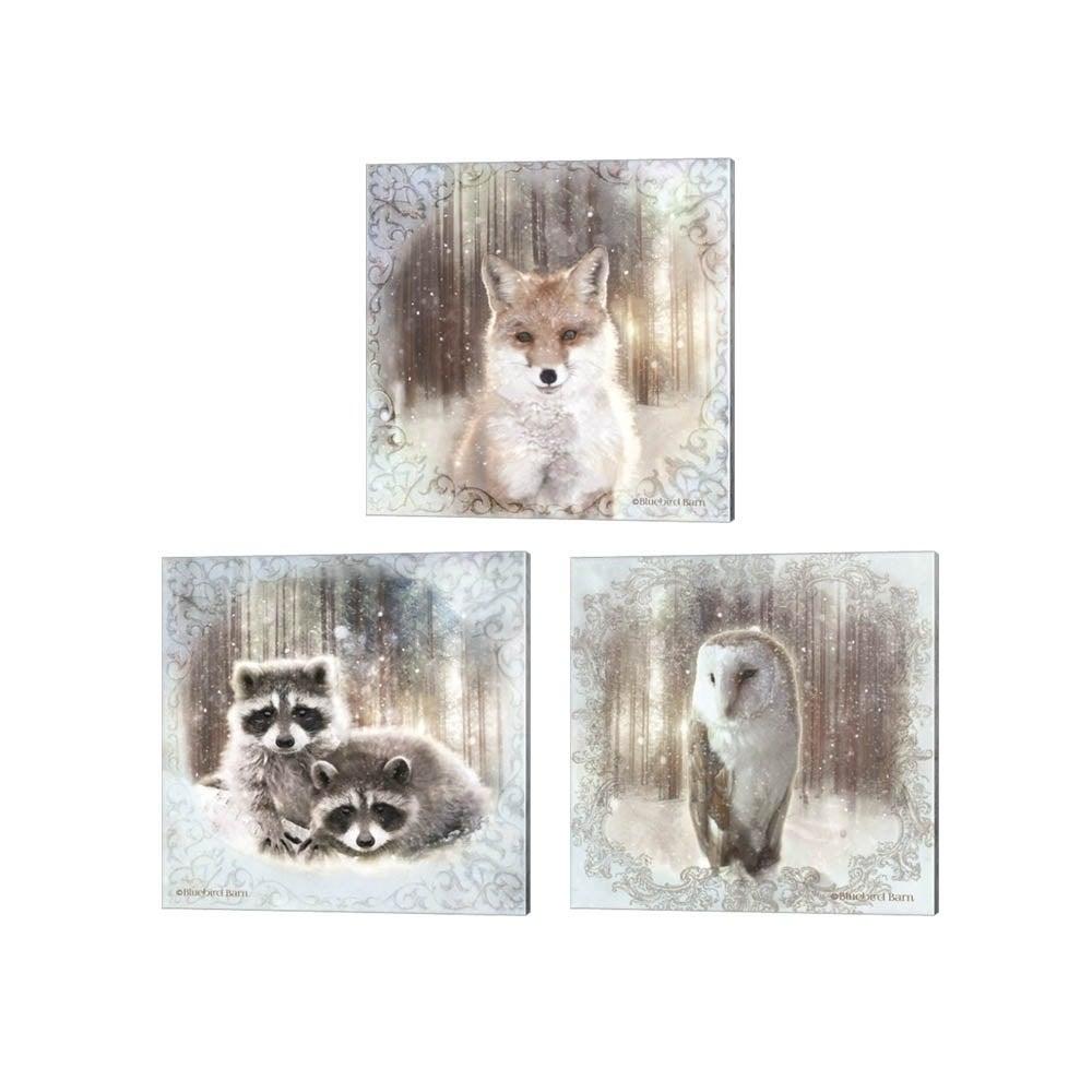 Bluebird Barn Enchanted Winter Fox Owl Raccoons Canvas Art Set Of 3 Overstock 30587444