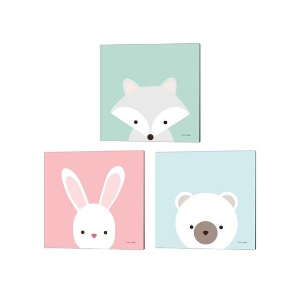Ann Kelle 'Cuddly Fox, Bear & Bunny' Canvas Art (Set of 3)