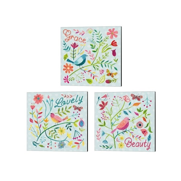 Farida Zaman 'Budding Beauty Light Blue' Canvas Art (Set of 3)