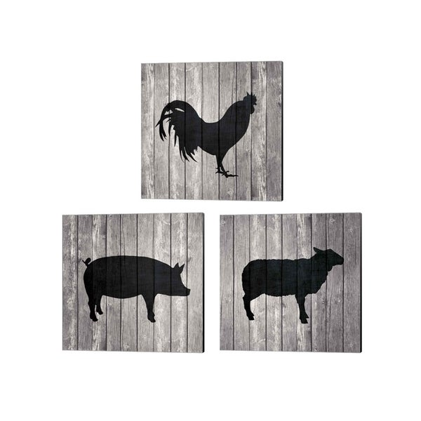 Tandi Venter 'Barn Pig, Rooster & Sheep' Canvas Art (Set of 3)
