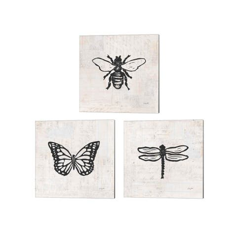Courtney Prahl 'Dragonfly, Butterfly & Bee Stamp BW' Canvas Art (Set of 3)