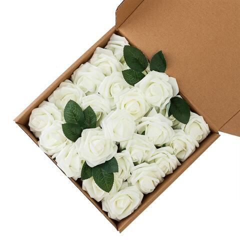 50pcs PE Foam Rose Flower Ivory White