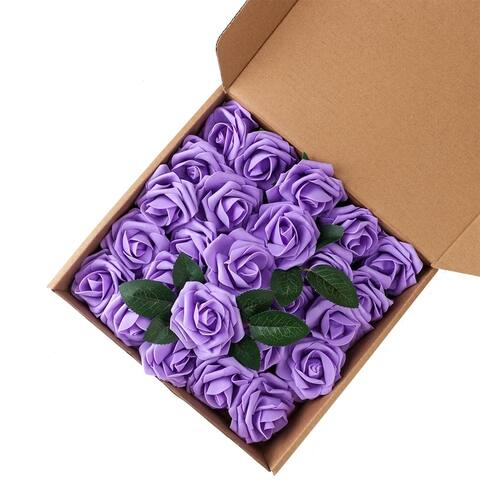 50pcs PE Foam Rose Flower Purple