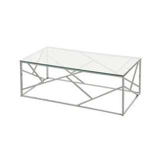 Soho Contemparary Rectangular Glass Coffee Table In Chrome