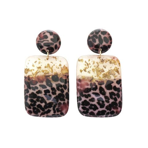 Women Resin Tortoise Shell Geometric Dangle Drop Earrings Fashion Jewelry
