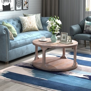 "Round Rustic Coffee Table Solid Wood+MDF Coffee Table for Living Room with Dusty Wax Coating(Ø35.5"")"